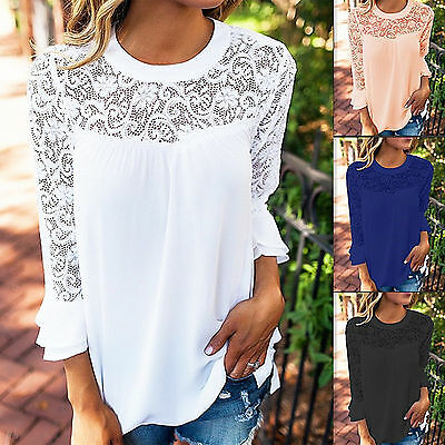 UK Womens Lace Floral Crew Neck Chiffon T-Shirt Ladies Summer Casual Tops Blouse