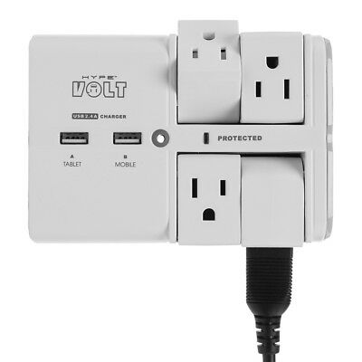 Hype Volt Wall Tap Swivel Surge Protector 4 Smart Outlets 2 USB Charging Ports