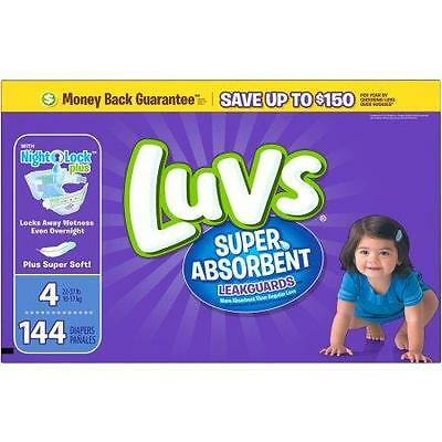 Luvs Super Absorbent Leakguards Diapers, Size 4, 144 Diapers - Brand New!