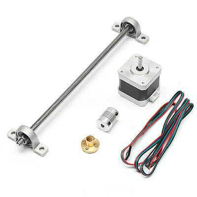 T8 250-1000mm Lead Screw Rod + Nut Shaft Mounting Support + Motor for 3D Printer
