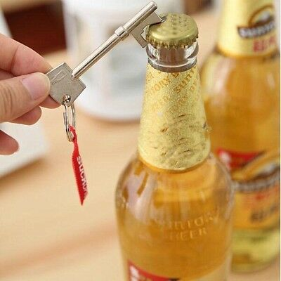 2 X Key Shaped Bottle Opener Ring Keyring Chain Keychain Metal Beer Bar EDC Tool
