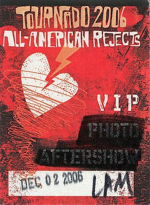 ALL AMERICAN REJECTS 2006 Tornado Concert Tour Backstage Pass!!! #1 custom stage