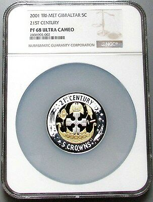2001 TRI-METAL GIBRALTAR 5 CROWN Pt-Au-Ag NGC PROOF 68 ULTRA CAMEO 199 MINTED
