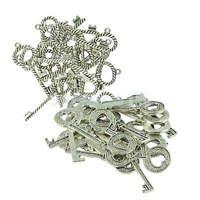 40psc Key Pendant Twisted Wire DIY Findings Tibetan Silver Necklace Keychain