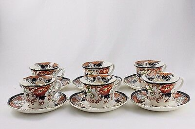 6 WOOD & SONS DEMITASSE CUPS & SAUCERS HAND PAINTED VERONA pattern