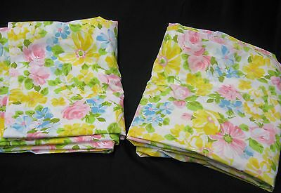 Vintage Springs Pequot No Iron Muslin Full Double Flat & Fitted Sheets Floral