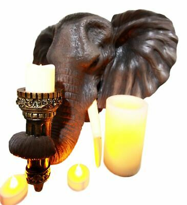 "Large 15""L Elephant Figurine Wall Mounted Plaque Tea Light Candle Holder Statue"