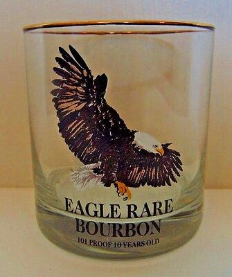 Eagle Rare Bourbon, 101 Proof 10 Years Old, Glass W/gold Rim