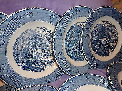 8 VIN CHINA DINNER PLATES ~ CURRIER & IVES THE OLD GRIST MILL by ROYAL