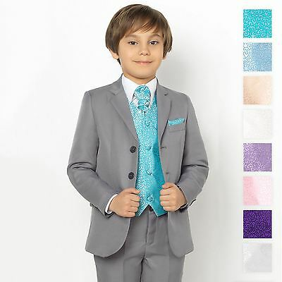 Boys Grey Suit, Page Boy Suits, Boys Prom Suits, Swirl Waistcoat Set