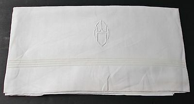 Antique Linen Sheet W O Monogram Quadruple Rows of Hemstitching Silky Fabric