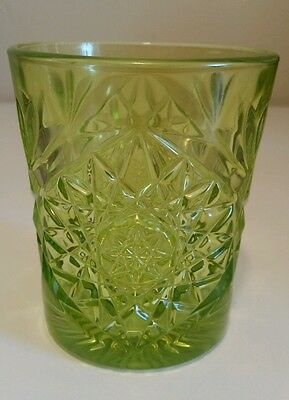 Vintage Libbey depression green color tumbler glass with hobstar and file design