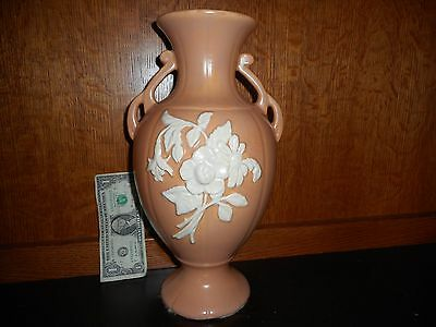 "Antique/Vintage Marked Weller Pottery 13.5"" X 7.25"" Peach Rose Cameo Vase"