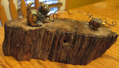 Vintage Eneg 24 K Gf  Kitten Cat W Copper Yarn On Petrified 5Wood Stump