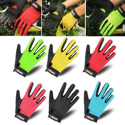 QEPAE Men Sport Cycling Bicycle Breathable Gel Full Finger Gloves S-XXL