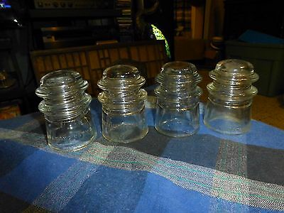 Vintage ARMSTRONG NO9 WHITALL TATUM NO9 & HEMINGRAY NO9 INSULATOR GLASS Lot Of 4