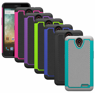 For ZTE AVID Plus Z828 Case Shockproof Hybrid Dual Layer Armor Protective Cover