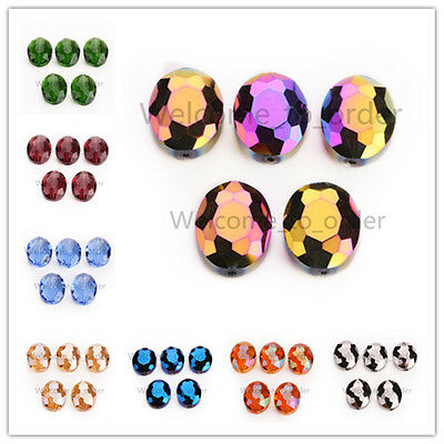 10 pcs Glass Crystal Charm Flat Oval Necklace Findings Spacer Loose Bead 20x16mm