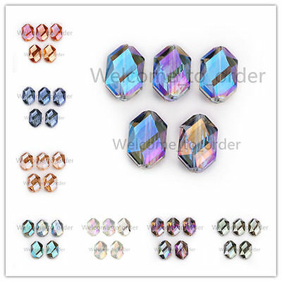 18x12mm Charms Faceted Glass Crystal Findings Oval Hexagon Loose Spacer Beads