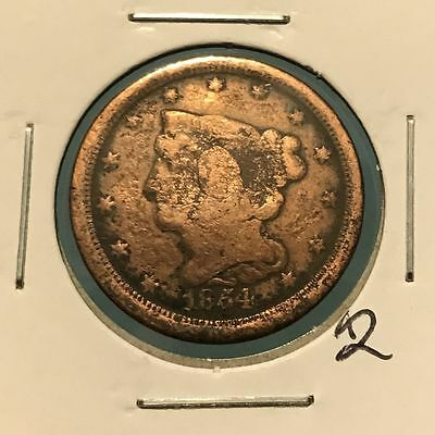 1854 1/2C Braided Hair Half Cent: Holed and Plugged #2
