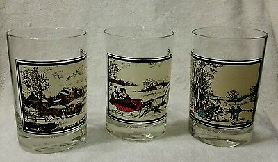 """Currier And Ives Winter Collection 3 of 4 Glass Scenic Set 1978 4 1/2"""" Height"""
