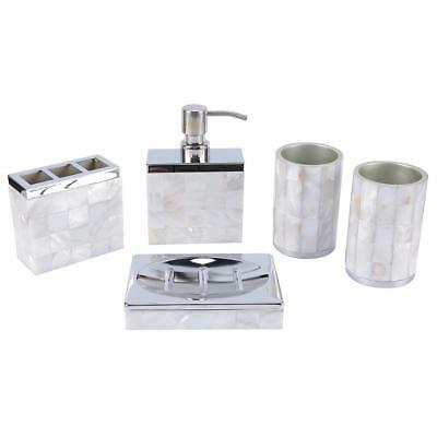 Natural Mother Of Pearl Bathroom Accessories Set 5 Pcs White