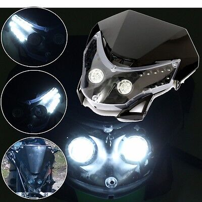 Universal Motorcycle Motocross Headlight Fairing Light Dual Street Fighter Lamp