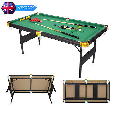 6ft Indoor Foldaway Snooker Pool Game Table with Billiard Balls Cues