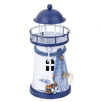 LED Light Metal Lighthouses Seagull Mediterranean Decorative Nautical Decor