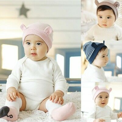 AU Toddler Kids Winter Warm Cotton Striped Hat Infant Baby Girl Boy Soft Cap