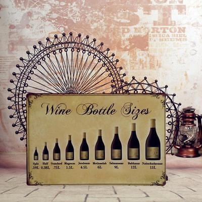 Wine Bottle Sizes Metal Plaque Saloon Bar KTV Retro Style Art Decoration 29