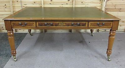 Large 6Ft X 4Ft Green Leather 6 Drawer Library Partners Writing Desk Table