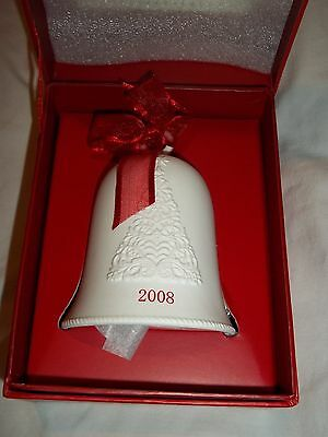 Hallmark White Porcelain Bell Ornament Christmas Embossed ChristmasTree 2008 NIB