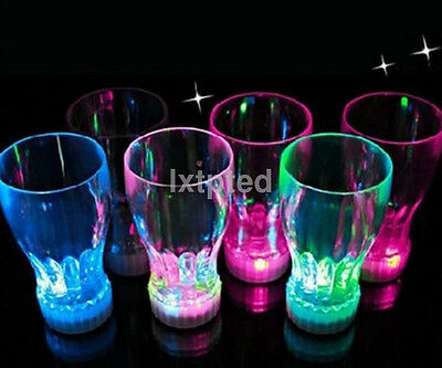 LED Flashing Glowing Water Liquid Activated Light-up Wine Glass Cup Mug Party~