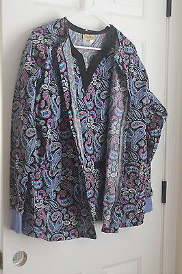 L@@K Warm Up Jacket & Top Medium Tafford Women's Hospital Scrubs Paisley