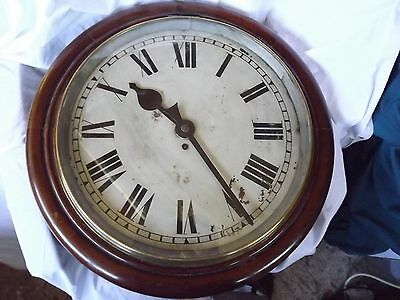 "Huge Mahogany ""16"" Dial Fusee RHL & Co. Station Clock"