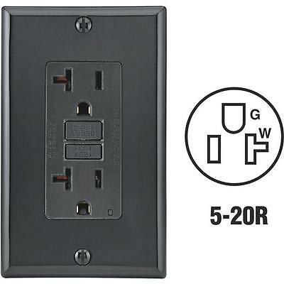 10 Pk Leviton Self-Test 20A Black 5-20R GFCI Outlet And Wall Plate 104-GFNT2-00E