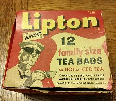 Vintage Lipton Family Size Tea Bags Empty Box