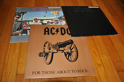 AC/DC Orig LP LOT  Back in Blac Dirty Deeds Let There Be Rock For Those About To