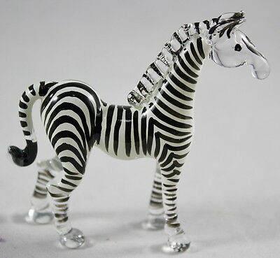 Zebras Wild Animal Handmade Figurine Mini Hand Blown Glass Craft Zoo Stand New 2