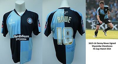 2015-16 Danny Rowe Signed Wycombe Wanderers FA Cup Match Shirt (11163)