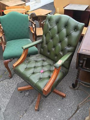 Vintage Green Chesterfield Button Back Leather Captains Desk Chair