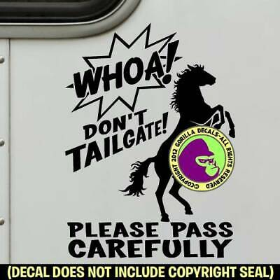 WHOA REARING HORSE TRAILER Vinyl Decal Sticker Caution Back Off Door Sign BL
