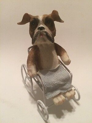 BullDog In A Wheel Chair Figurine. Resin.