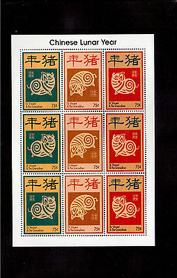 ST. VINCENT & THE GRENADINES 1995 #2170a/c MINI SHEET VF NH, YEAR OF THE BOAR !!
