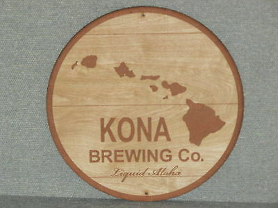 """Kona Beer 12"""" Round Wood barrel top end style wall sign"""
