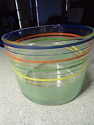 Heavy Clear Glass Ice Bucket 4 Primary Color Rings Frosted Green Base