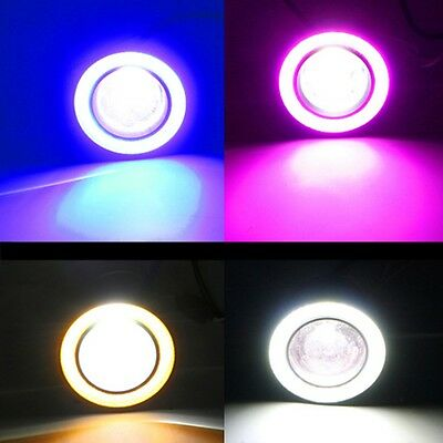 Car COB LED Angel Eyes Fog Light Halo Ring Lens Projector DRL Driving Lamp 2Pcs