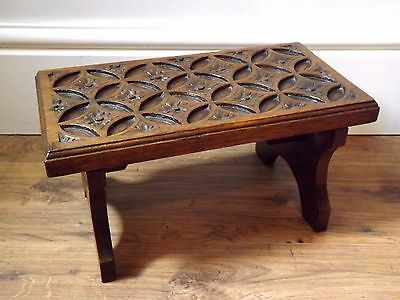 Antique Victorian Arts & Crafts / Gothic Style Carved Oak Footstool c.1900