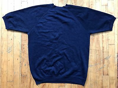 VTG 60's 70's Plain Navy Sears Short Sleeve Sweatshirt Crewneck Sz XL Tall